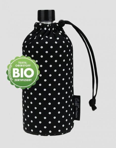 EMIL Ekologiczna butelka czarna w białe kropki 600 ml